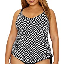 Christina Womens Plus-Size Plus-Size D-Cup Hidden Underwire Tankini with Drawstrings