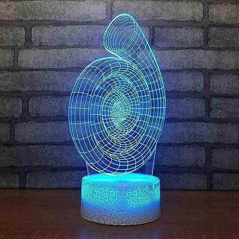 Lámpara 3D abstracta Creativa Luz nocturna de siete colores Mesa ...