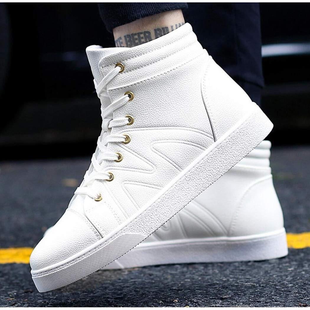 Zapatos Zapatos Zapatos para Hombre de otoño Versión Coreana de la Tendencia de los Estudiantes Zapatos Deportivos y de Ocio Zapatos Altos para Hombres (Color : Blanco, tamaño : 42 EU) 995499