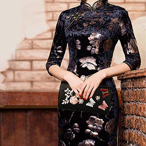 Boda De Fiesta Para Seda Noche Negro Mujer Monedero Flada Embragues Bolsa Mariposa La Oro H1xwZqRP