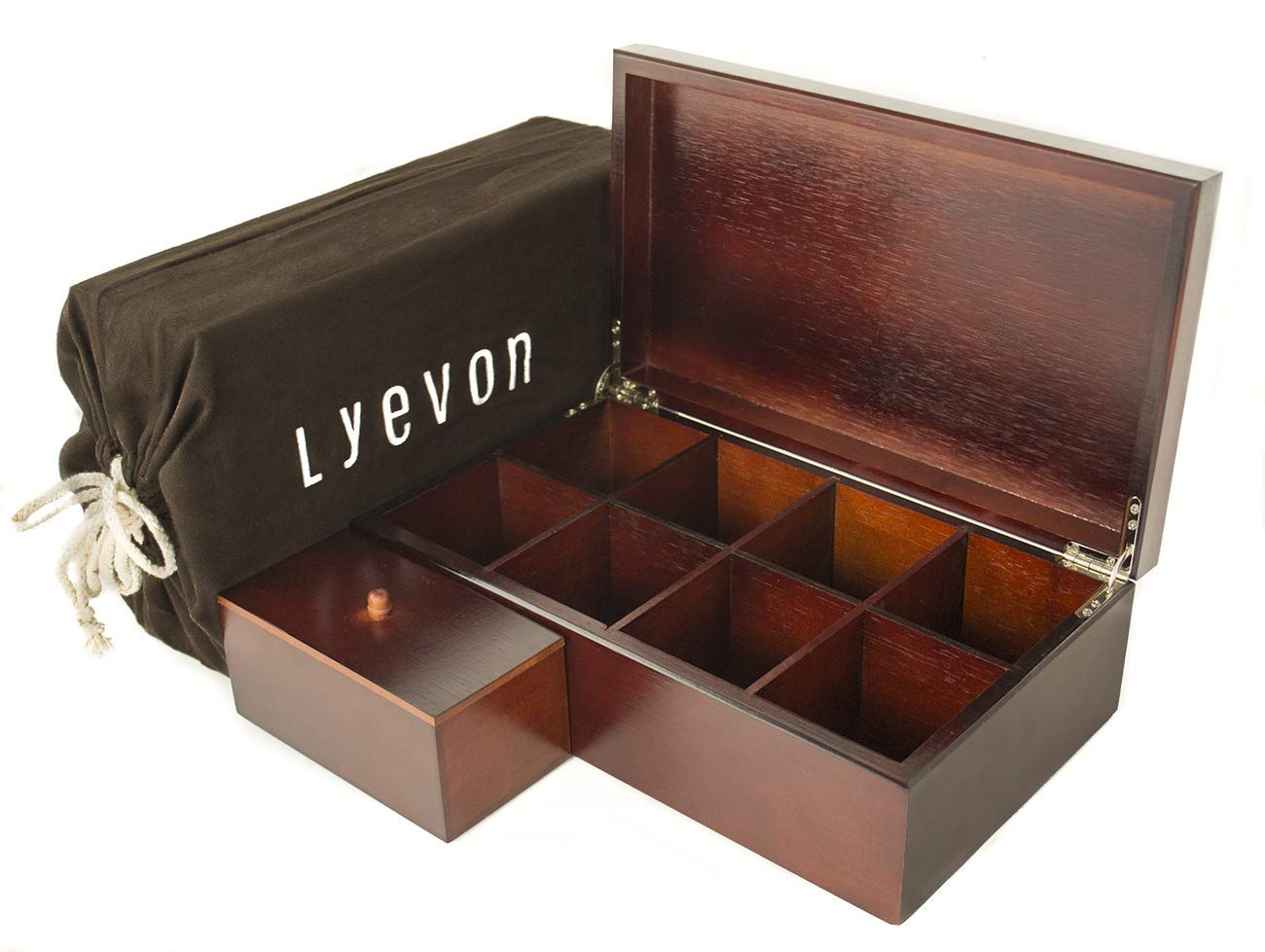 Tea Organizer - 8 Adjustable Compartments - Handmade Bamboo Tea Box Storage Organizer by Lyevon - Included container for loose leaf tea and coffee pods - Perfect Gift Idea - Dark Cherrywood