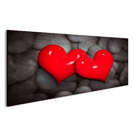 Cuadro Cuadros Encuentra el concepto de amor. Dos corazones rojos de muchos blanco y negro