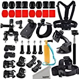 Kupton Action Camera Mount Accessories Kit for GoPro Hero5/Session Xiaomi Yi/4K GeekPro ANART DBPOWER Lightdow ASX Action Pro Chest/Head/Wrist/Car/Bike/Floaty/Selfie Stick/Quick Clip