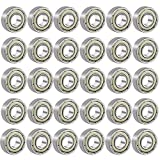 EAONE 30 Pieces 608ZZ Ball Bearings 8x22x7 mm Double Metal Shielded Miniature Deep Groove Ball Bearing for Tri-spinner Fidget Spinner Toy