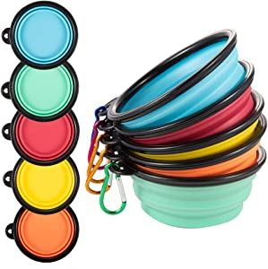 Guardians Collapsible Dog Bowls, Travel Dog Water Bowl Portable Foldable Food Dishes with Carabiner Clip for Traveling, Hiking, Walking (Pack of 5)