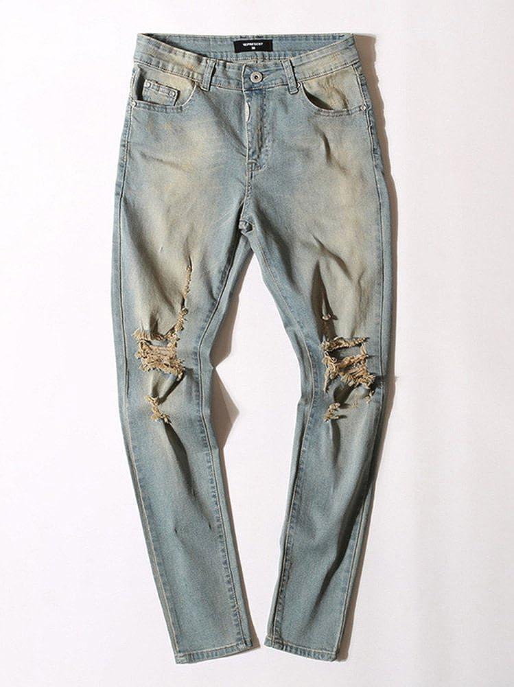 ZiXing Vaqueros Ajustados para Hombre Longitud Agujero Rasgado Stretch Pantalones Denim