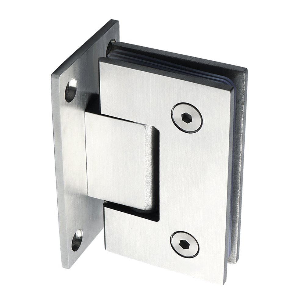 Alise Heavy Duty 90 Degree Glass Door Cupboard Showcase Cabinet Clamp Glass Shower Doors Hinge Replacement Part Wall-to-Glass,Stainless Steel Brushed Nickel