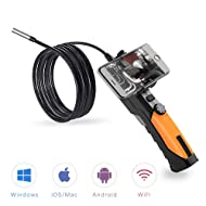 Wireless Endoscope,Anykit WiFi Borescope Inspection Camera with 6 LED Lights and Phone Holder, Compatible with PC, iPhone & Android, 2.0 Megapixels HD Semi Rigid Waterproof Borescope for Motor/Drain