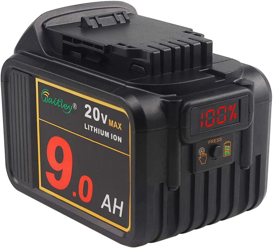 Waitley 20V MAX 9.0Ah Lithium Ion Premium Battery Compatible with DEWALT XR DCB200 DCB204 DCB205 DCB206 DCB209 DCD/DCF/DCG Series Tools with LED Indicator