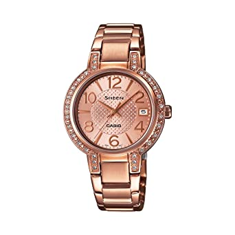 47fd9ba330a Buy Casio Sheen Analog Rose Gold Dial Women s Watch - SHE-4804PG-9AUDR  (SX130) Online at Low Prices in India - Amazon.in