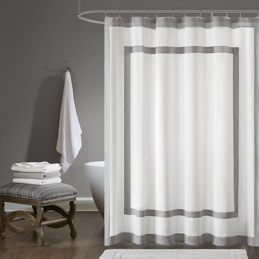 Madison Park Greyson Simple Modern Cotton Fabric Long Shower Curtain, Contemporary Solid Shower Curtains for Bathroom, 72 X 72, Grey