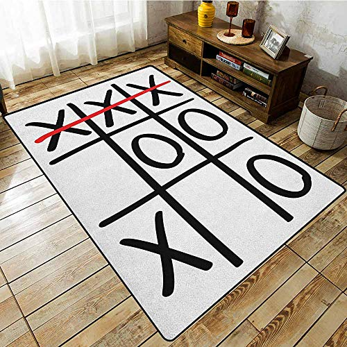 Bedroom Rug,Xo,Popular Tic Tac Toe Game Pattern Hand Drawn Design Win Victory Finish Theme,Anti-Static, Water-Repellent Rugs Vermilion Black White