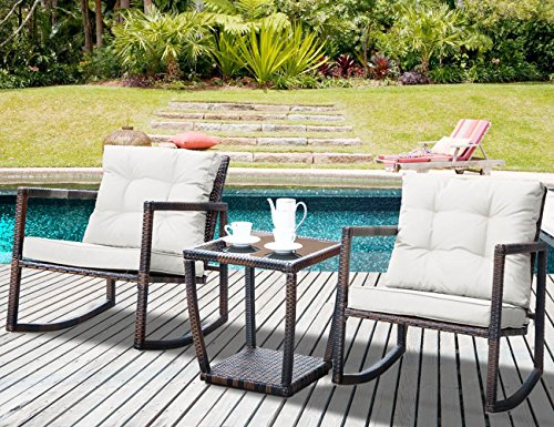 Modern Patio Chairs - Leisure Zone 3 PCS Wicker Patio Rocking Chair Armchair Outdoor Porch Deck All Weather Gliding Rocker Coffee Table, Beige Cushion
