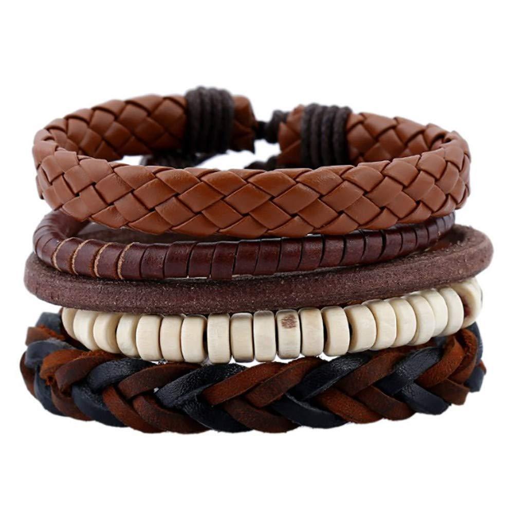 Gessppo 4pcs Men Women Simple Retro Suit Braided Bracelet Hemp Rope Leather Bangle Chain