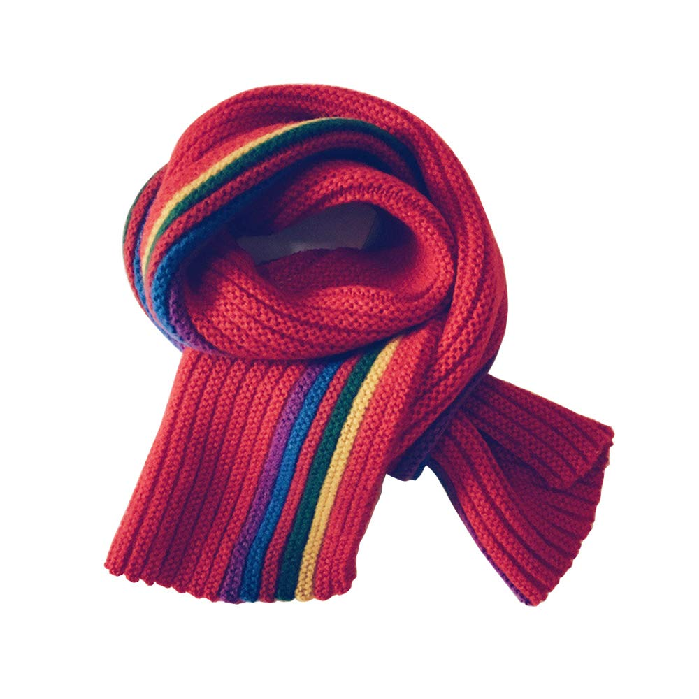 Little Girls Boys Rainbow Scarves 8 x 55 | Winter Warm Scarf for Kids | Beige
