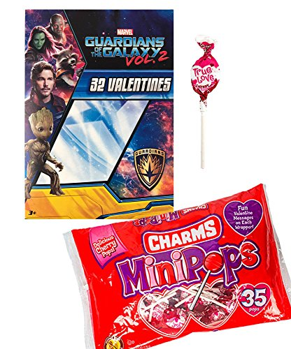 Marvel Guardians Of The Galaxy 32 Valentine Cards and Charms Lollipops Classroom Exchange Bundle For Kids (I-class Card)