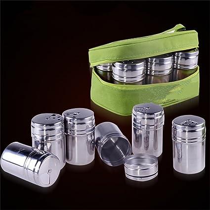 BrilliantDay 6 piezas de viaje coctelera de tarro de contenedor de hierbas especias sal y pimienta. Pasa ...
