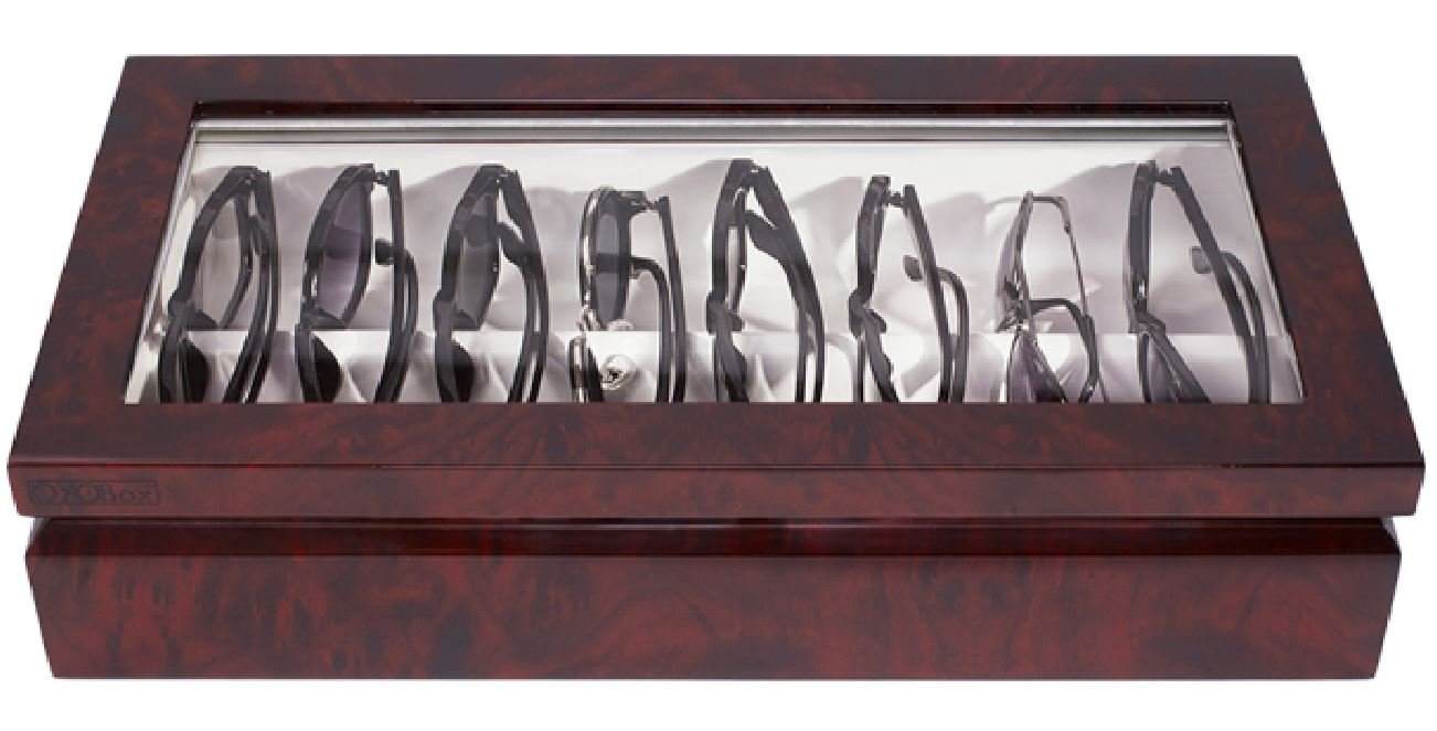 OYOBox Luxury Eyeglass Eyewear Unisex Maxi Cherry Burl Color Lacquer Finish Wooden Organizer Box
