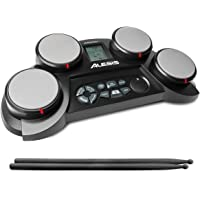 CompactKit 4 – Ultra-portable Electronic 4-Pad Tabletop Drum Kit with Velocity-Sensitive Drum Pads, 70 Drum Sounds, Coaching Feature, Game Functions, Battery- or AC-Power and Drum Sticks Included