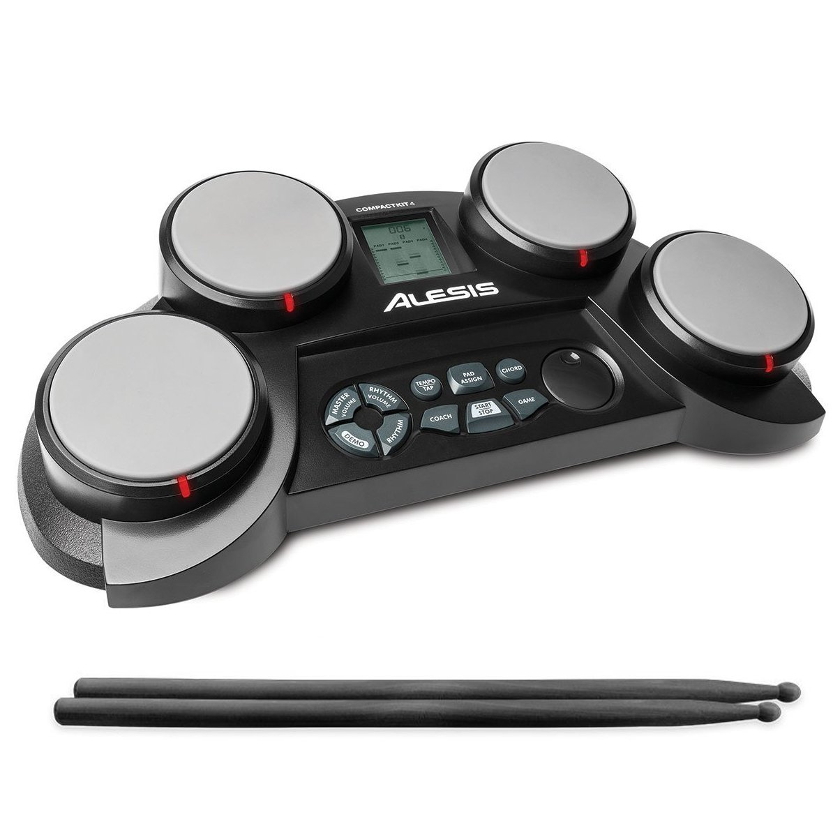 Alesis Compact Kit 4 | Portable 4-Pad Tabletop Electronic Drum Kit with Velocity-Sensitive Drum Pads, 70 Drum Sounds, Coaching Feature, Game Functions, Battery- or AC-Power and Drum Sticks Included by Alesis
