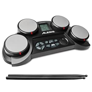 Alesis CompactKit 4 | Portable 4-Pad Tabletop Electronic Drum Kit with Drumsticks