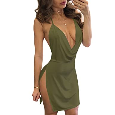 VANCOL Women s Sexy Deep V-Neck Halter Backless Slit Mini Party Club Dress  (S 98c1fcbe0