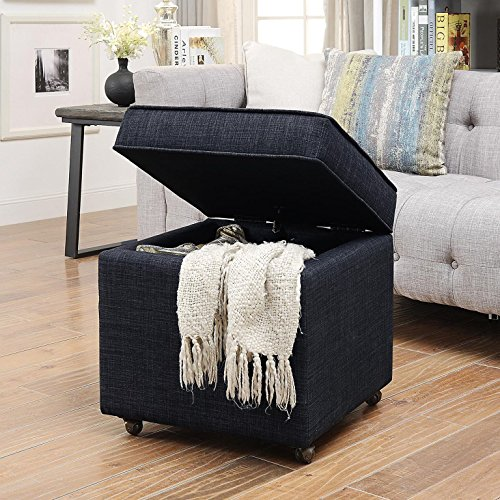 Inspired Home Harrison Linen Modern Contemporary Hidden Storage Castered Legs Ottoman Cube, Black