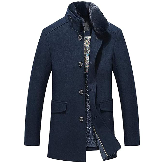 5837b8d0fc CLOOM Giacca Invernale Uomo Cappotto Outwear Wool Trench Coat ...