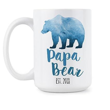 84b7c4c5fc Amazon.com  Papa Bear est 2018 Papa Bear Mug New Dad Mug Papa Bear ...
