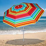 AMMSUN 2017 7 ft Sand Anchor Beach Umbrella Adjustable Height with Zinc Tilt Twist-in System UPF 50+ Silver Coating Inside and Telescoping Pole / MULTICOLOR Yellow