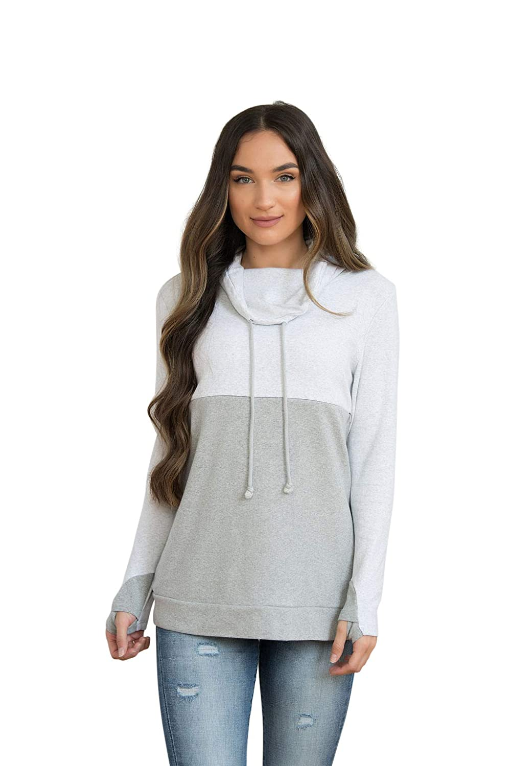 Nursing Queen. Nursing Top for Breastfeeding - Colorblock Nursing Sweatshirt - Hidden Zipper - Gray