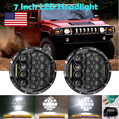 7 Inch For 1992-2001 AM General Hummer LED Round Headlights Hi/Lo Double Beam DRL Driving Lamp Replacement 75W 6000K H5024 5024 6012 6014 6015 H6017 H6024 2PCS