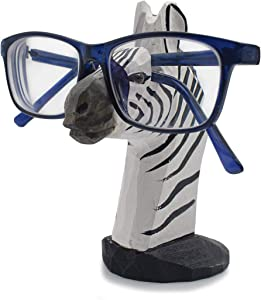 VIPbuy Handmade Wood Carving Eyeglasses Spectacle Holder Stand Sunglasses Display Rack Home Office Desk Décor Gift (Zebra)