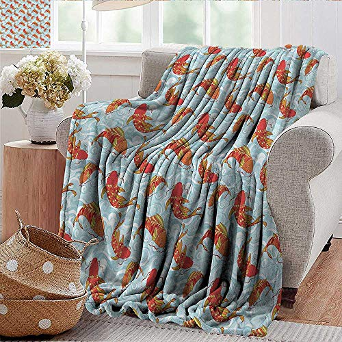 Xaviera Doherty Throw Blankets Fleece Blanket Kids,Asian Style Catfish and Waves Microfiber All Season Blanket for Bed or Couch Multicolor ()