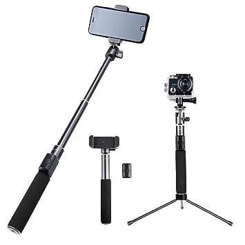 AUKEY Palo Selfie Bluetooth Premium con Trípode, Metal Completo con Control Remoto para GoPro, iPhone, Samsung, Cámara y Más