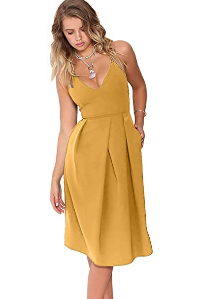 b3594209aeca Eliacher Women s Deep V Neck Adjustable Spaghetti Straps Summer Dress  Sleeveless Sexy Backless Party Dresses with Pocket at Amazon Women s  Clothing store