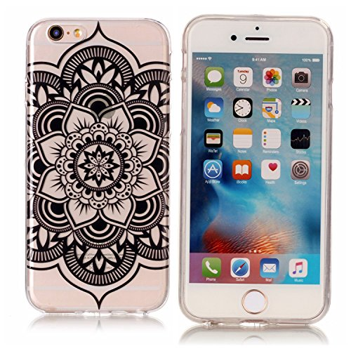 iPhone 6 6S Hülle, Modisch Schwarze Mandala Transparent TPU Silikon Schutz Handy Hülle Handytasche HandyHülle Etui Schale Schutzhülle Case Cover für Apple iPhone 6 6S