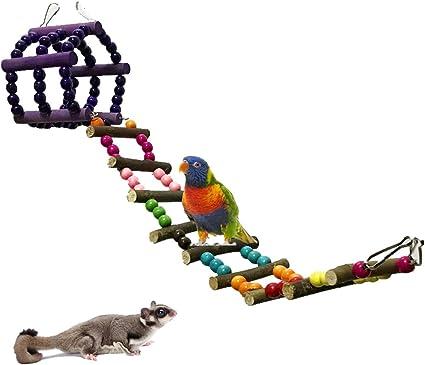 UEETEK Juguete del Pájaro Aves Escalera Columpio Jaula Juguete para Loros Guacamayos Periquito (Coloridos): Amazon.es: Productos para mascotas