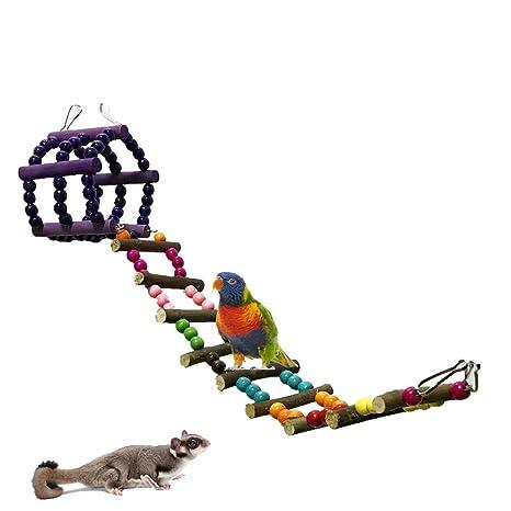 UEETEK Juguete del Pájaro Aves Escalera Columpio Jaula Juguete ...