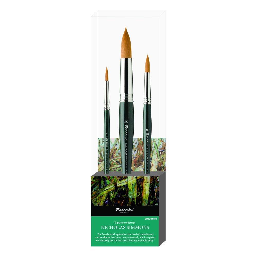 Global Art Materials 8604-01 Escoda Nicholas Simmons Watercolor Set No.1 Set of 3 Fine Artist Paint Brushes, Assorted