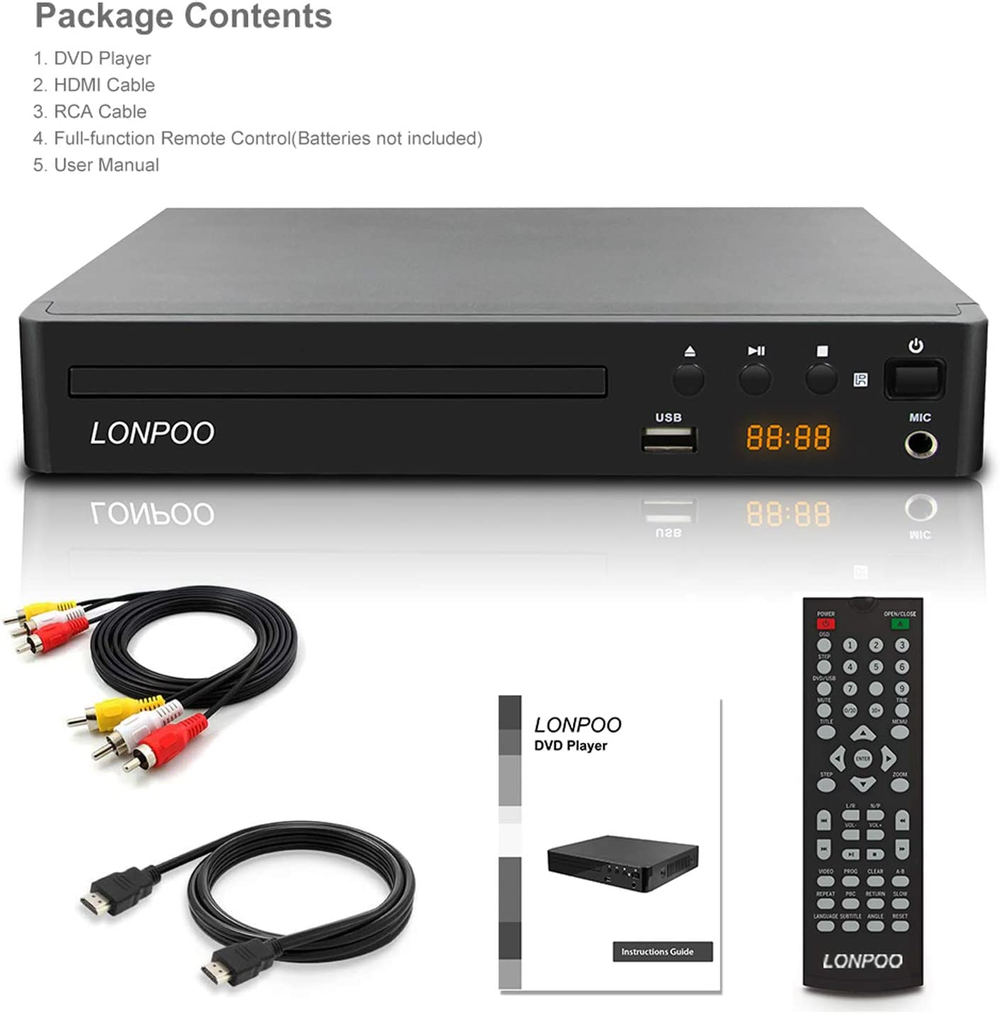 LP-099 Reproductor de DVD, Compact DVD Player (Full HD,HDMI, USB ...
