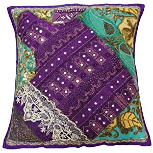 Embroidered Patchwork Cushion Cover Purple 43cm Home Decor Pillow Case Indian Art 17 X 17 Inches