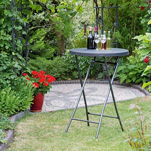 Relaxdays Table haute ronde pliante de jardin BASTIAN ...