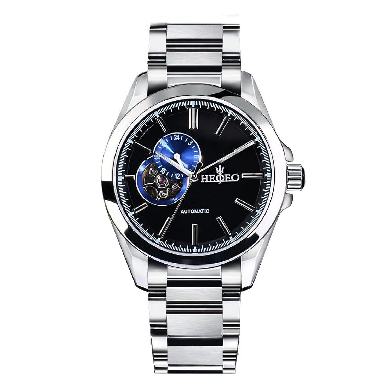 HEOJEO 自動巻機械式時計 メンズ時計 スイス製きらめくステンレススチール B01GHMA87Oブルー