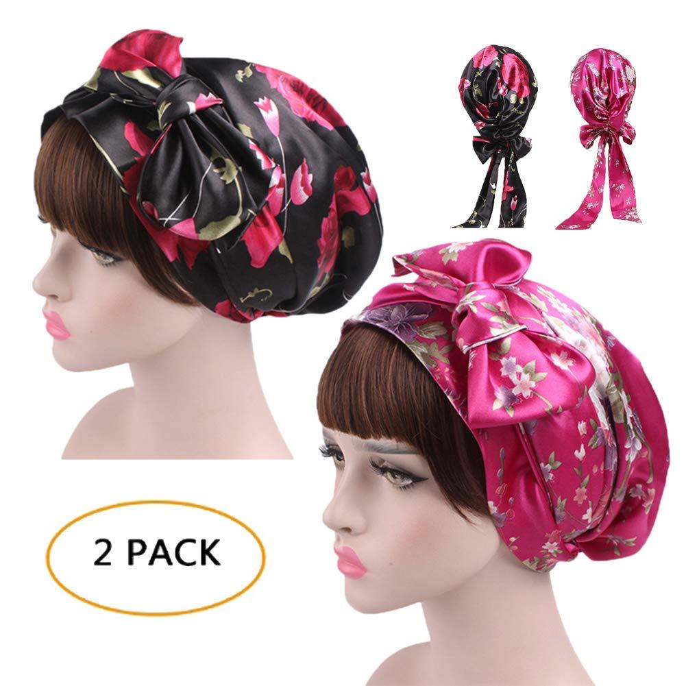 Satin Sleeping Cap Silk Bonnet Turban Multipurpose Headwear with Long Drawstring (One Size, Black & Pink)
