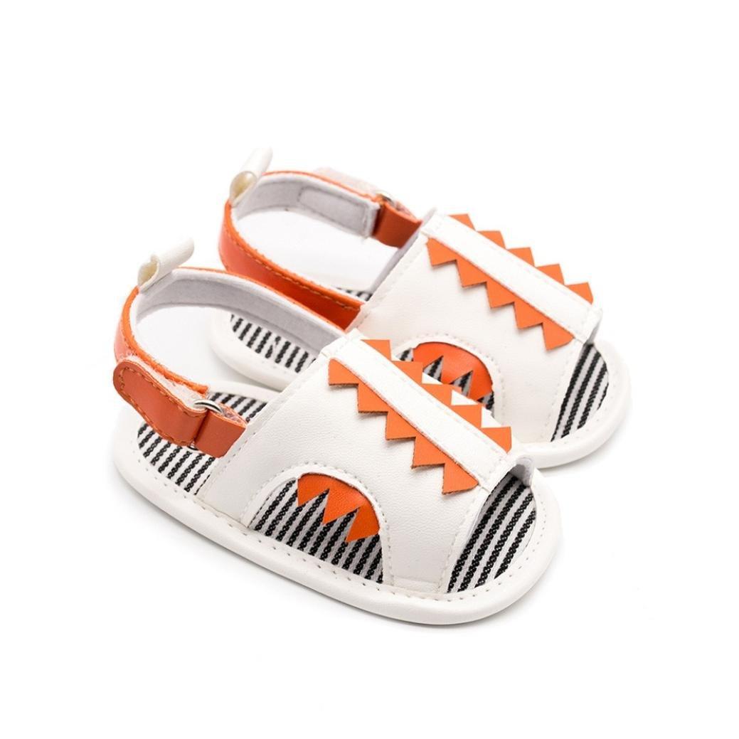 Newborn Boys Girls Cartoon Crocodile Baby Prewalker Striped Soft PU Sandals WARMSHOP Summer Shoes for 3-12 Months