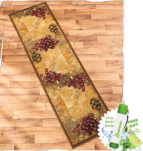 Gift Included- Vineyard Themed Decorative Kitchen Jute Accent Rug Runner Area Carpet Decor + FREE Bonus 23 oz Water Bottle byHomecricket (Runner, 22