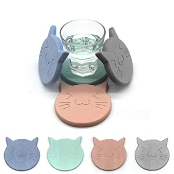 Diatomite - Alfombrilla antideslizante de absorción de agua, diseño de gato, para café,