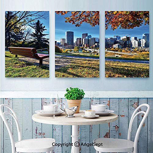 AngelSept 3 Piece Canvas Wall,Park Bench Overlooking The Skyline of Calgary Alberta During Autumn Tranquil Urban,for Modern Home Decor Stretched and Framed Ready to Hang,16