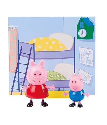 Planet Superheroes Pvc Peppa Pig Bedroom Scene With George Pig Figures Multicolour